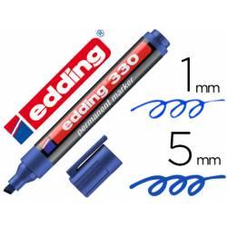 Rotulador permanente Edding 330 azul punta biselada 1-5mm recargable