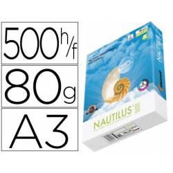 Papel multifunción A3 Nautilus superwhite 100% reciclado 80 g/m2