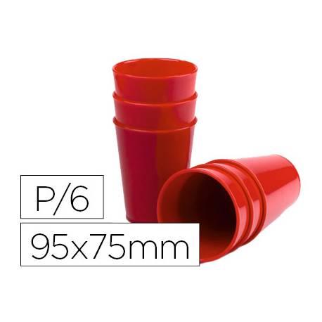 Vaso ABS rojo 95x75 mm Borde grueso redondeado
