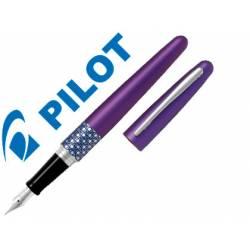 Pluma Pilot Urban MR Retro Pop Plumín Metálico con Estuche Violeta