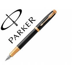 Pluma Parker PK IM GT Premium Plumin Fino Lacado Negro Adornos Dorados