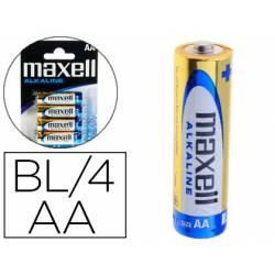 Pilas Maxell Alcalina 1.5 V AA LR06 Blister con 4 unidades