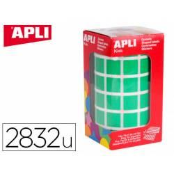 Gomets Apli cuadrado color verde 15x15 mm