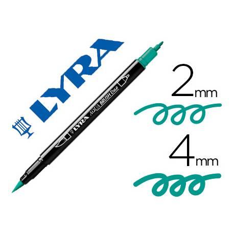 Rotulador Lyra aqua brush acuarelable doble punta fina y punta pincel verde noche