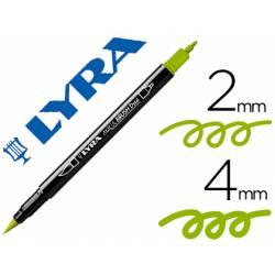 Rotulador Lyra aqua brush acuarelable doble punta fina y punta pincel verde manzana