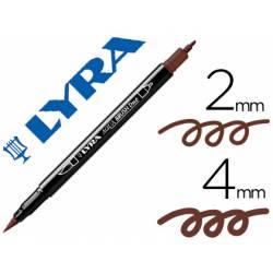 Rotulador Lyra aqua brush acuarelable doble punta fina y punta pincel sepia oscuro