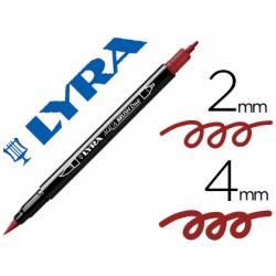 Rotulador Lyra aqua brush acuarelable doble punta fina y punta pincel rojo venecia