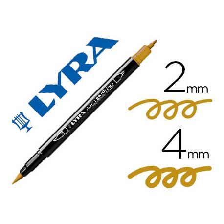 Rotulador Lyra aqua brush acuarelable doble punta fina y punta pincel ocre dorado