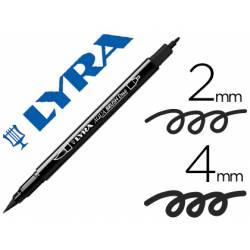 Rotulador Lyra aqua brush acuarelable doble punta fina y punta pincel negro