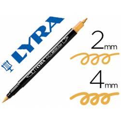 Rotulador Lyra aqua brush acuarelable doble punta fina y pincel amarillo canario