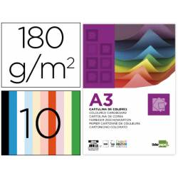 Cartulina Liderpapel 10 colores surtidos DIN A3 180 g/m2