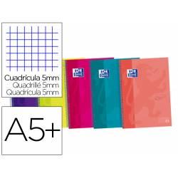 Cuaderno Oxford Ebook 4 A5+ Colores Surtidos Tapa Extradura 120 hojas Cuadricula 5 mm