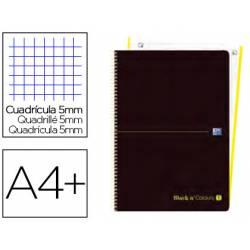 Cuaderno Oxford Ebook 1 A4+ Negro y Lima 80 hojas Tapa Plastico Cuadricula 5 mm