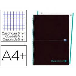 Cuaderno Oxford Ebook 1 DIN A4+ Negro y Menta Hielo Tapa Plastico Cuadricula 5 mm