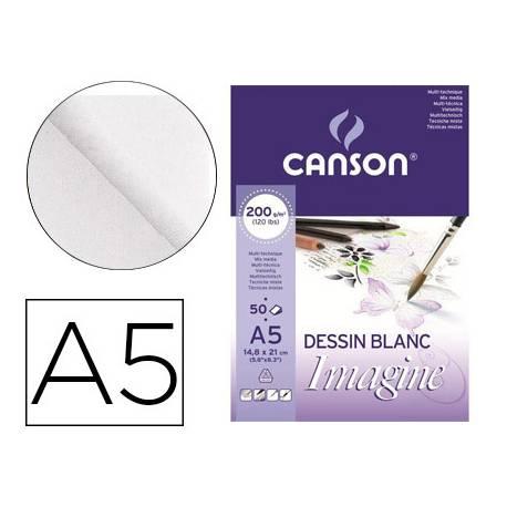 Bloc Dibujo Multitecnicas Canson A5 Encolado Liso