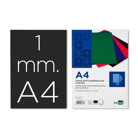 Tapa Encuadernación Liderpapel Carton DIN A4 1mm Negra pack 50 uds