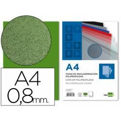 Tapa de Encuadernacion Polipropileno Liderpapel DIN A4 Verde 0.8mm pack 50 uds