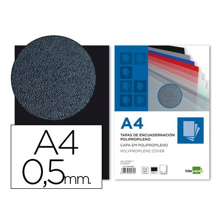 Tapa de Encuadernacion Polipropileno Liderpapel DIN A4 Negra 0.5mm pack 100 uds
