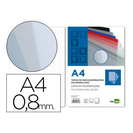 Tapa de Encuadernacion Polipropileno Liderpapel DIN A4 Transparente 0.8mm pack 50 uds
