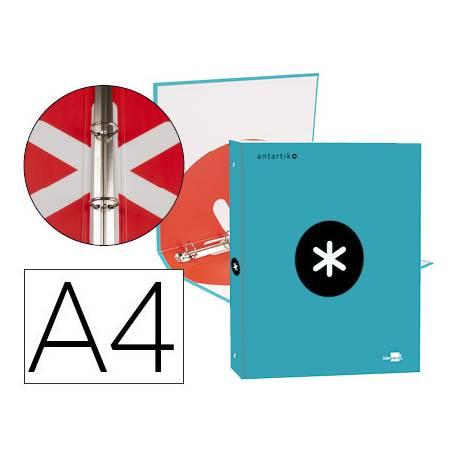 Carpeta 4 anillas 25mm Liderpapel Antartik A4 turquesa carton forrado