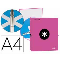 Carpeta 4 anillas 25mm Liderpapel Antartik A4 rosa carton forrado