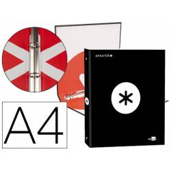 Carpeta 4 anillas 25mm Liderpapel Antartik A4 negro carton forrado