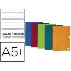 Libreta Escolar Liderpapel Scriptus Grapada Din A5+ 48 hojas Rayado Montessori 5 mm de Colores Surtidos