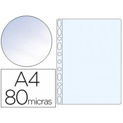 Funda Multitaladro Q-Connect Din A4 80 MC Cristal Caja 100 unidades