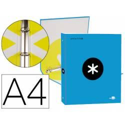 Carpeta 4 anillas 25mm Liderpapel Antartik A4 azul carton forrado