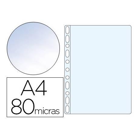 Funda Multitaladro Q-Connect A4 80 MC Cristal. Caja 100 ud.