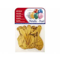Globos Metalizados Oro Bolsa 15 unidades