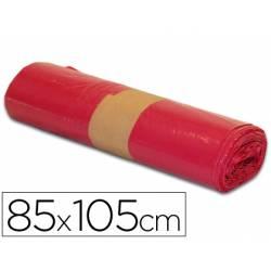 Bolsa basura roja 85x105cm uso industrial galga 110 rollo de 10 unidades
