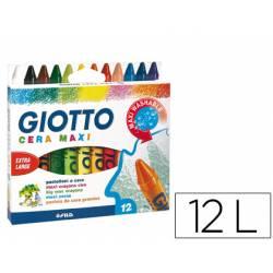 Lapices cera Giotto Maxi 12 unidades colores surtidos