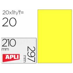 Apli Etiquetas Adhesivas 210x297 mm Amarillo Fluorescente Caja con 20 hojas
