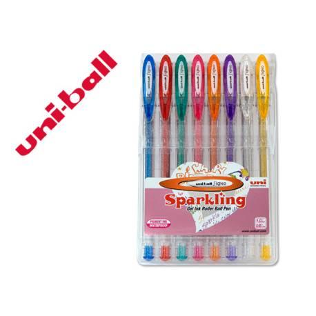 Boligrafo Uni ball UM-120 0,4 mm 8 colores purpurina gel