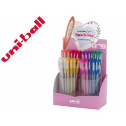 Expositor Boligrafo uni ball um-120 signo 0,7 mm tinta gel De 48 unidades Colores con purpurina