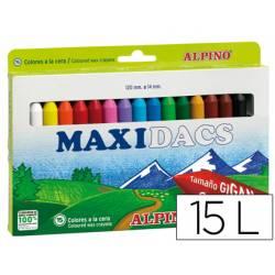 Lapices cera Alpino Maxidacs jumbo 15 unidades colores surtidos