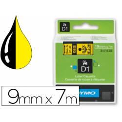 Cinta Dymo D1 color negro y amarillo 19mm x 7 mt