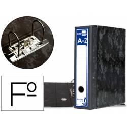Archivador de palanca Liderpapel carton forrado folio negro lomo 80mm Jaspeado
