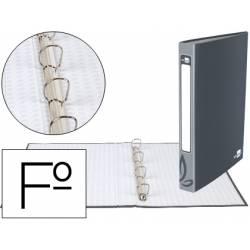 Carpeta Liderpapel 4 anillas 25 mm mixtas carton forrado folio color gris