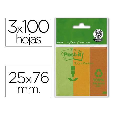 Post-it ® Bloc notas adhesivas recicladas 25 x 76 mm