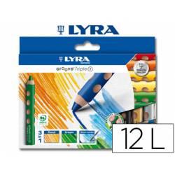 Lapices de colores acuarelable-cera Lyra groove triangulares mina gruesa 10 mm caja de 12 colores