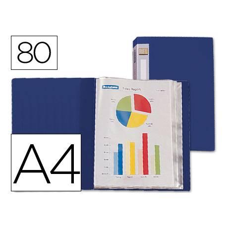 Carpeta Beautone escaparate 80 fundas fijas Din A4 azul oscuro