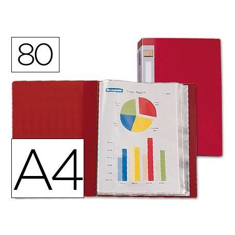 Carpeta Beautone escaparate 80 fundas fijas Din A4 rojo