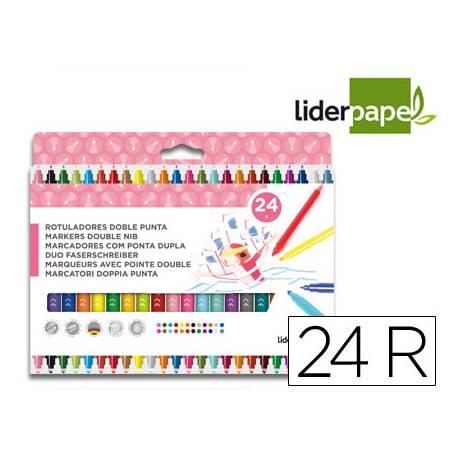 Rotuladores Liderpapel Duo Lavable Doble Punta Caja de 24 Colores