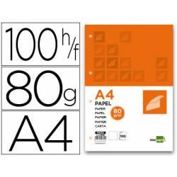 Papel Liderpapel Din-A4 80 gr (4 TALADROS) -100 Hojas-
