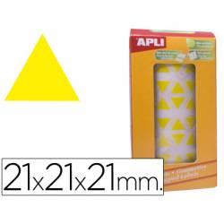 Gomets Apli triangulares color Amarillo 21x21x21mm