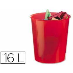 Papelera plástico Q-Connect rojo transparente 16 litros
