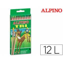 Lapices de colores Alpino triangulares caja de 12 unidades