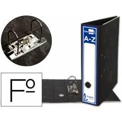 Archivador de palanca Liderpapel Classic Blue 2 anillas folio. Carton entrecolado sin rado lomo 80mm negro compresor metal.